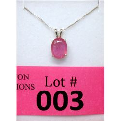 2.87 Pink Tourmaline Sterling Silver Necklace