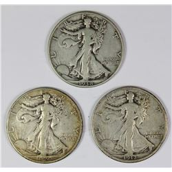THREE WALKING LIBERTY HALF DOLLARS: