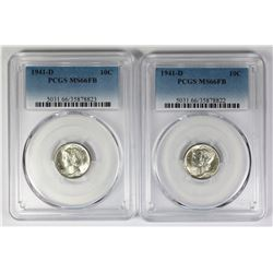 TWO 1941-D MERCURY DIMES