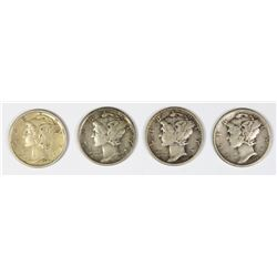 FOUR MERCURY DIMES: