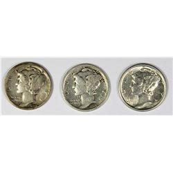 THREE MERCURY DIMES: