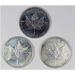 THREE CANADA SILVER MAPLE LEAFS