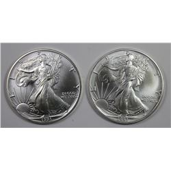 TWO 1991 AMERICAN SILVER EAGLES
