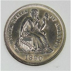 1890 SEATED DIME
