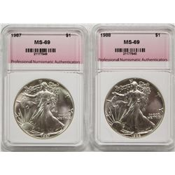 1987 AND 1988 AMERICAN SILVER EAGLES