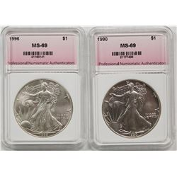 1990 AND 1996 AMERICAN SILVER EAGLES
