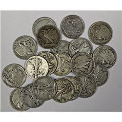 ROLL OF 20 WALKING LIBERTY HALF DOLLARS