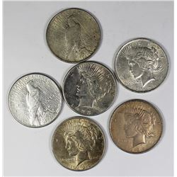 (6) PEACE SILVER DOLLARS