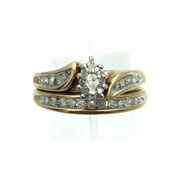 10K YELLOW GOLD DIAMOND WEDDING SET VINTAGE