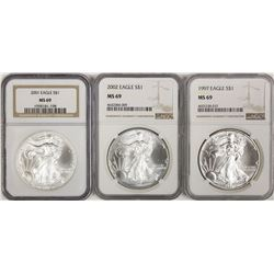 NGC GRADED MS 69 AMERICAN SILVER EAGLES