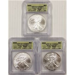 ICG GRADED MS 69 AMERICAN SILVER EAGLES