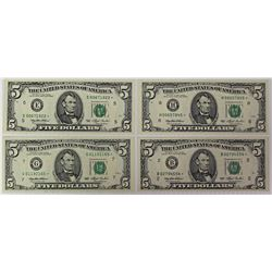 FOUR 1993 $5.00 FEDERAL RESERVE STAR NOTES: