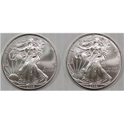 NINE PCS. 2008 AMERICAN SILVER EAGLES