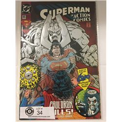 DC Comics Superman in Action Comics No. 695 With Embossed Cover. In Bag on White Board