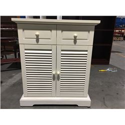 "ANTIQUED CREAM CABINET - 2 SHUTTER LIKE DOORS & 2 DRAWERS 27"" X16.5"""