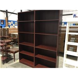 "2 X CHERRY COLORED BOOKSHELVES - ADJUSTABLE SHELVES (20.75""W X 71.5"" H X 11.5""D)"