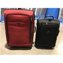 2 X ATLANTIC SUITCASES (1 LARGE RED EXPANDABLE & 1 BLACK CARRY-ON) -EXCELLENT CONDITION