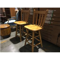 "SET OF 2 SOLID WOOD SWIVEL BAR STOOLS  (CHAIR HEIGHT 24"" TOTAL HEIGHT 38.5"")"
