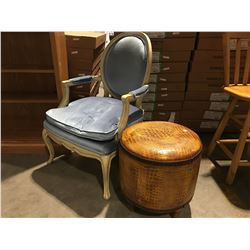 BOUDOIR VICTORIAN STYLE CHAIR (BLUE UPHOLSTERED WITH ANTIQUED FINISH) & ALLIGATOR STYLE UPHOLSTERED