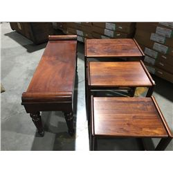 "SET OF 3 ALL WOOD NESTING TABLES (TALLEST TABLE 21"" X 16"" X 20.25"" & WOODEN BENCH (42"" X 13"" X"