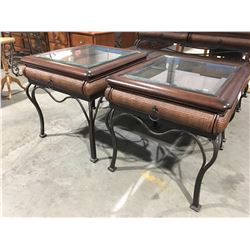 "2  X METAL/WICKER/WOOD & GLASS END TABLES (24"" X 27.5"" X 24.5"")"