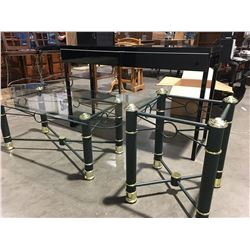 GROUP OF 3 TABLES (1 BLACK LACQUERED SOFA TABLE (DRAWERS ARE STIFF TO OPEN DUE TO INCORRECT WS