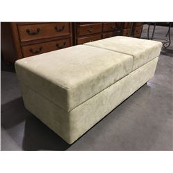 "LIGHT GREEN UPHOLSTERED OTTOMAN WITH STORAGE ON WHEELS 54"" X 22"" X 19"" (SMALL PAINT STAIN ON TOP)"