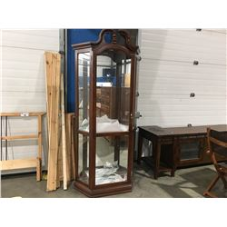 GLASS & WOOD LIGHTED CORNER DISPLAY CABINET - 4 GLASS SHELVES - MIRRORED BACK