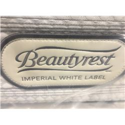 KING SIZE BEAUTYREST PILLOW TOP IMPERIAL WHITE LABEL  - MED (DIRT NOTED ON ONE SIDE OF MATTRESS)