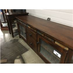 "2 PCE LONG CABINET WITH PATTERNED GLASS DOORS & SLATE ACCENTS (62"" X 18"" X 25"") & SIDE TABLE WITH"