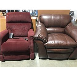 2 LA-Z-BOY CHAIRS - 1 BURGUNDY POWERED ROCKER RECLINER & 1 BROWN UPHOLSTERED OVER-STUFFED CHAIR