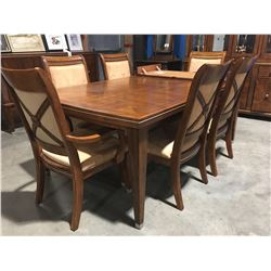 SOLID WOOD FORMAL DINING TABLE WITH 1 LEAF & 4 UPHOLSTERED & WOOD CHAIRS & 2 CAPTAINS CHAIRS