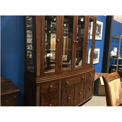 CHINA CABINET & HUTCH 4-DOOR & 3 DRAWERS, BEVELED GLASS, LIGHTED & MATCHING BUFFET