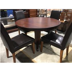 "ROUND DINING TABLE WITH PEDESTAL BASE (48"") & 4 UPHOLSTERED CHAIRS (MILD SCRATCH NOTED ON TABLE"