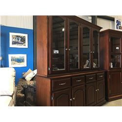 "BUFFET & HUTCH - CHERRY STAINED MAPLE WITH GLASS SHELVES (69"" X 75"" X 17.5)"