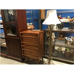 "POLE LAMP & 4-DRAWER CURVED FRONT DRESSER (22"" X 16"" X40"")"