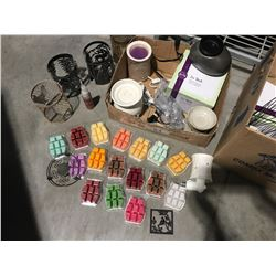 ASSTD BOX OF SCENTSY INCLUDES BURNERS/PLUG IN BURNERS/SLEEVES & WAX - A