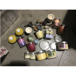 ASSTD BOX OF SCENTED CANDLES/GLASS CANDLE TRIVETS/TEALIGHT CANDLES ETC. - A
