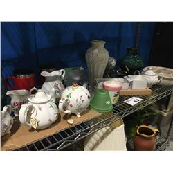 SHELF LOT OF ASSTD GLASS WARE (TEAPOTS/VASES/POTTERY BOWLS ETC)