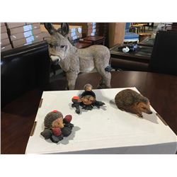 "4 PCE COUNTRY ARTIST FOR THE DISCERNING ""THE NATURAL WORLD"" BURRO & 3 ASSTD HEDGEHOGS"