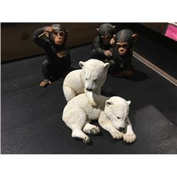 "3 PCE COUNTRY ARTIST FOR THE DISCERNING ""THE NATURAL WORLD"" POLAR BEAR & 2 CHIMPS"