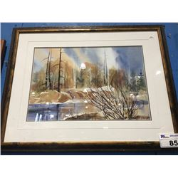 "FRAMED WATER COLOR BY ANNIE FROESE NATURE SCENE 30"" X 24"""