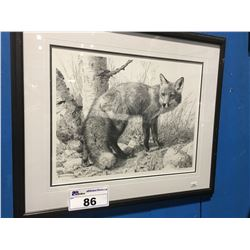 "FRAMED NUMBERED PRINT 611/1250 ""RED FOX"" BY CARL BRENDERS 23"" X 19"" WITH CERTIFICATE"