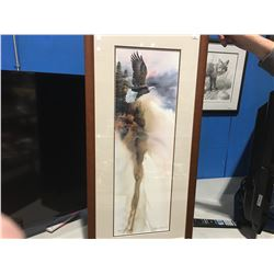 "FRAMED NUMBERED PRINT BRONZE EDITION 115/150 ""BALD EAGLE IN FLIGHT"" BY MIICHAEL CAPSER  17"" X 36"""