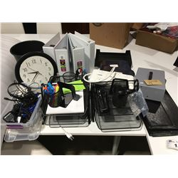 SHELF LOT OF ASSTD OFF ITEMS - WIRE IN/OUT BASKETS X 2/PENCIL/PEN HOLDERS X 4, BOOKENDS/CASH BOX