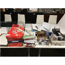 SHELF LOT OF ASSTD OFF ITEMS - IN/OUT TRAYS/HOLE PUNCH/4 LARGE BINDERS/OFFICE CLOCK/5 PCKS LEGAL