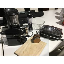 SHELF LOT OF ASSTD SMALL APPLIANCES - NESPRESSO COFFEE MAKER/HAMILTON BEACH BREWSTATION/HAMILTON