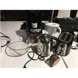 SHELF LOT OF ASSTD SMALL APPLIANCES - BLACK & DECKER COFFEE MAKER & TOASTER/BRITA WATER JUG/RUSSELL