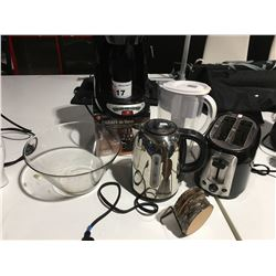 SHELF LOT OF ASSTD SMALL APPLIANCES - BLACK & DECKER COFFEE MAKER & TOASTER/BRITA WATER JUG/RUSSELL
