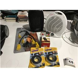SMALL SHELF LOT OF MISC ITEMS - MAGIC WRAP X 2, REPAIR WRAP, 2 SMALL FLOOR HEATERS, NOMA POWER CORD